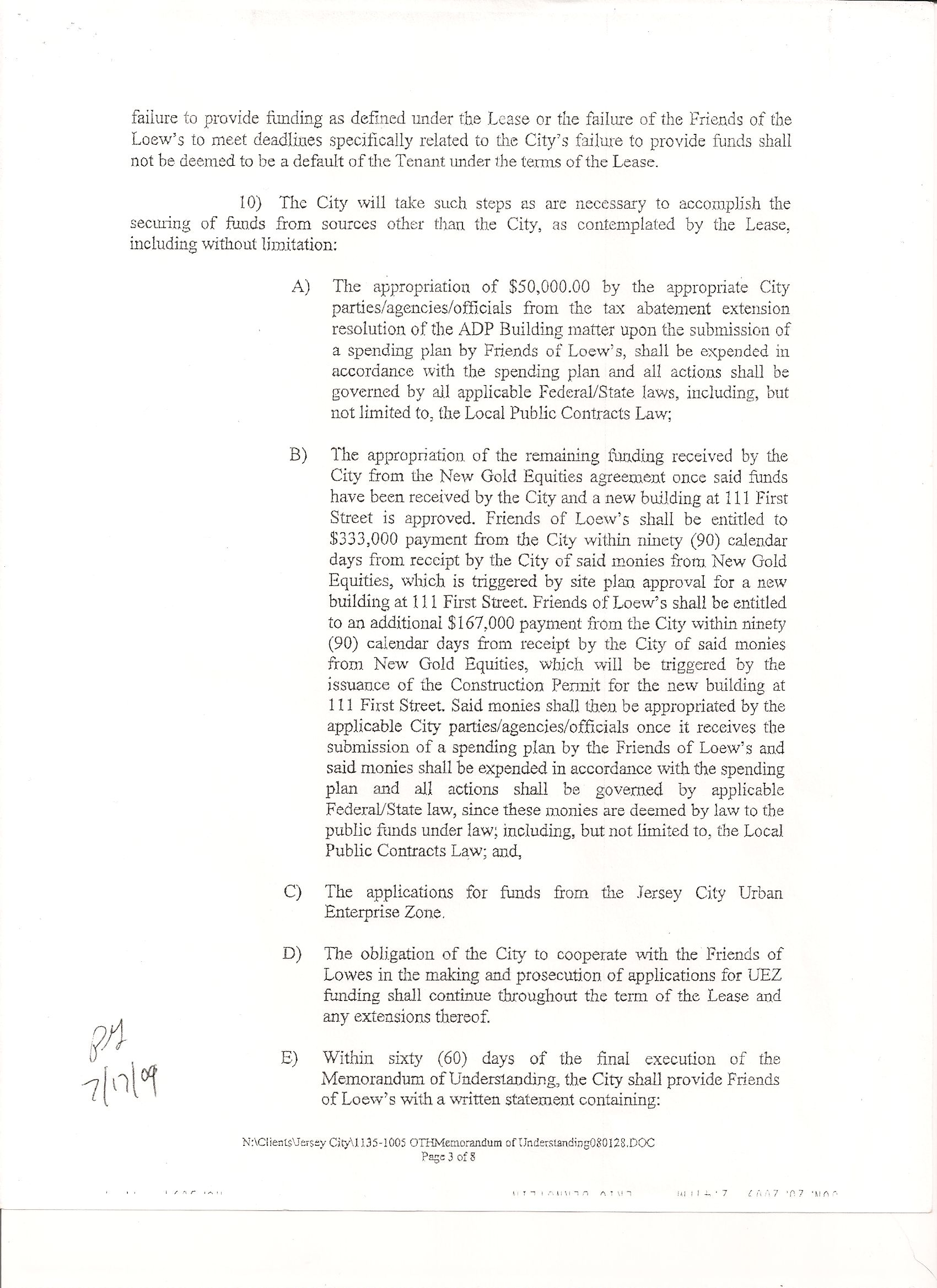 Lease Agreement Page 2 Friends Of The Loews