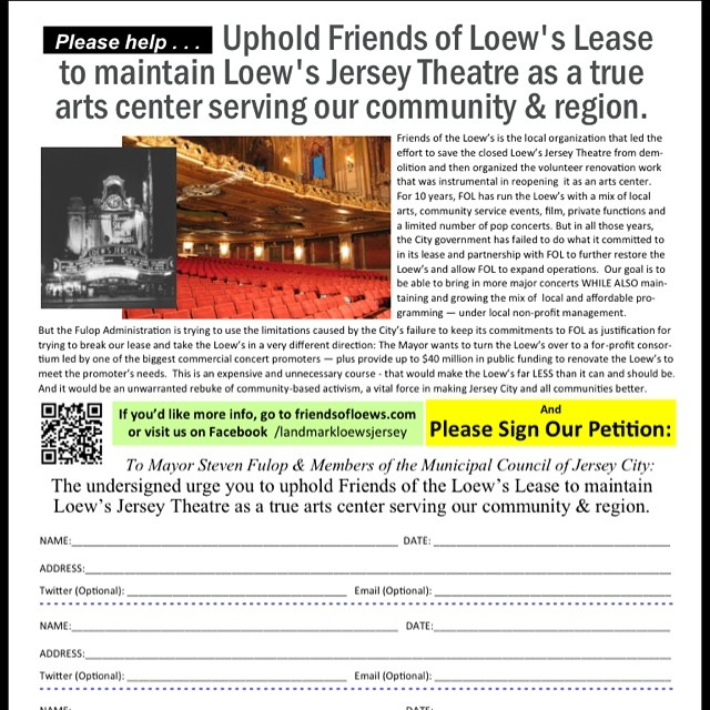 Landmark Loew's Jersey Theatre: Petition to #SaveTheLoews