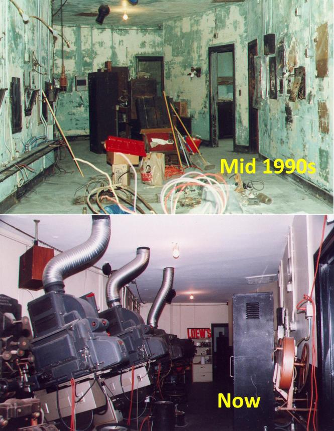 Projection Booth at the Loew's Jersey before & after restoration and re-equipping by FOL.